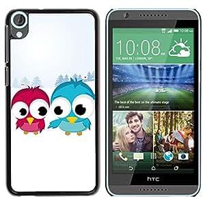 Estuche Cubierta Shell Smartphone estuche protector duro para el teléfono móvil Caso HTC Desire 820 / CECELL Phone case / / Blue Red Bird Art Snow Couple Love Romantic /