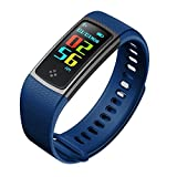 LJXAN Activity Fitness Tracker Running Record Heart Rate Blood Pressure Sleep Monitor Health Monitoring Waterproof Bluetooth,Blue