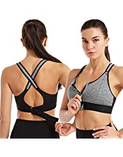 Women's Zipper Front Sports Bra Adjustable Straps Shockproof Wireless Post-Surgery Bra Wireless Active Yoga Sports Bra Pack