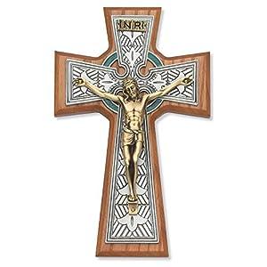 8 Inch Walnut Celtic Crucifix Tutone...
