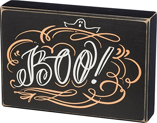 Primitives by Kathy Halloween Box Sign - Boo - Black - 8 inches x 5.5 inches ()
