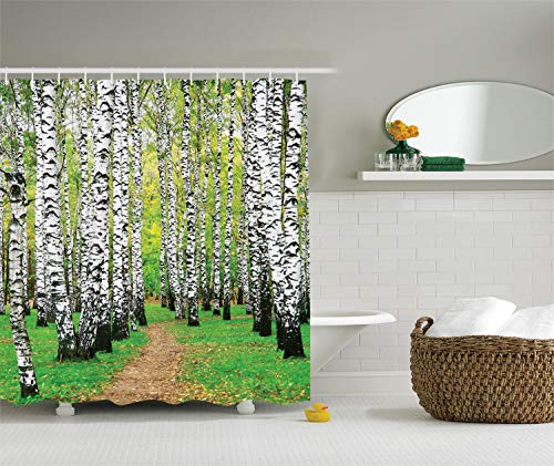 (Ambesonne Farm House Decor Collection, Pathway in Birch Grove Forest Early Fall Scene Print, Polyester Fabric Bathroom Shower Curtain Set with Hooks, Yellowgreen Olive Peru )