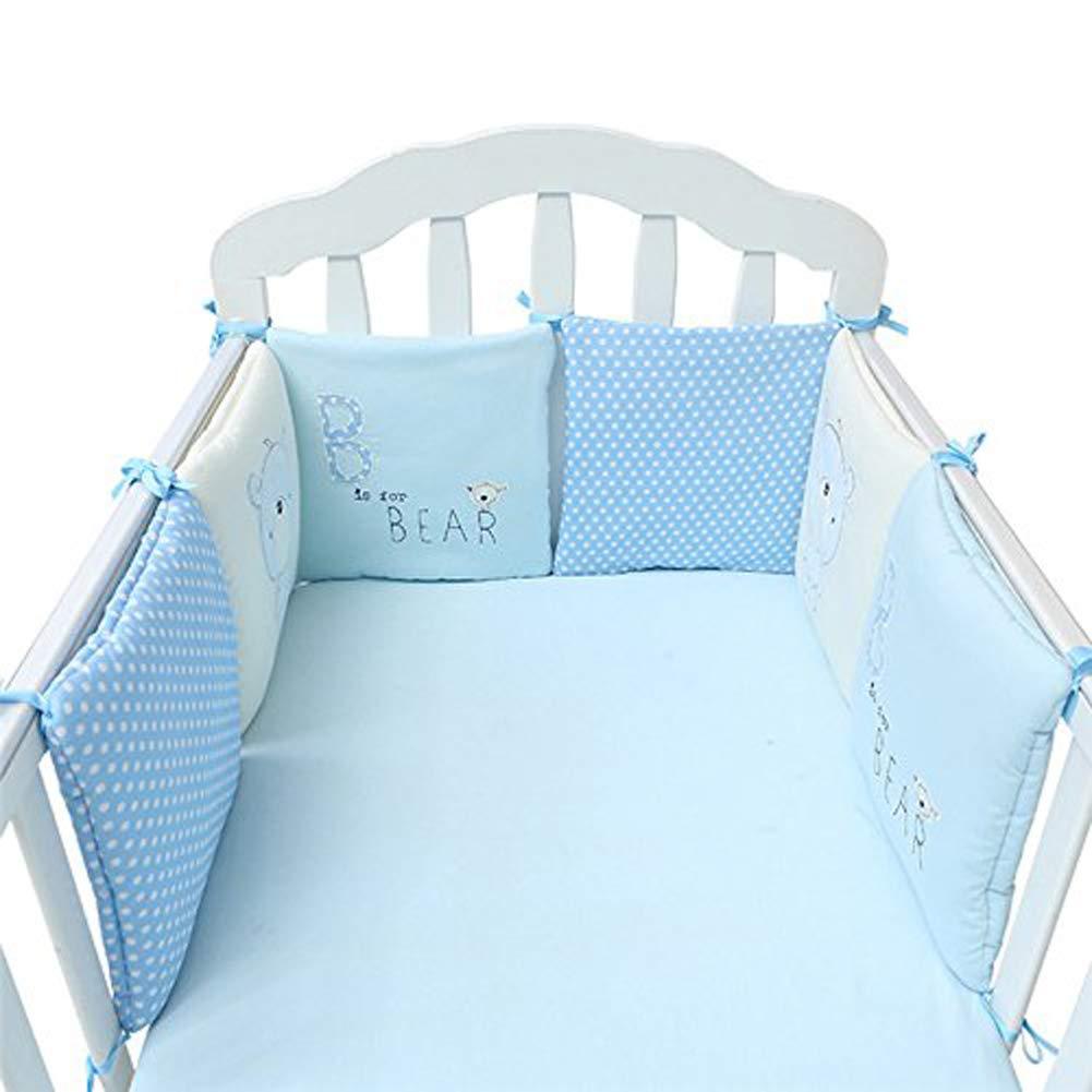 Moonvvin Pillow Bumper 6pcs Baby Cot Bed Bumper Breathable Nursery Comfort Bedding Set 30 * 30cm Blue Bear