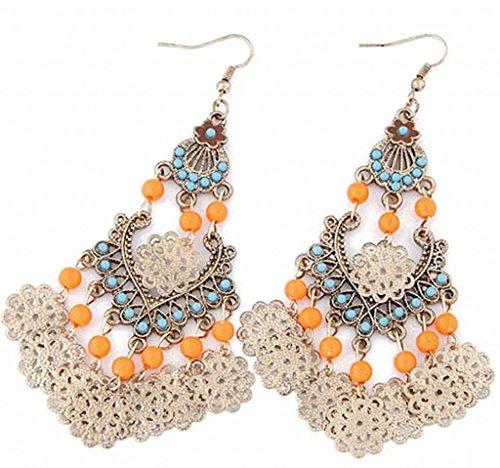JSDY Womens Girl Luxury Vintage Totem Tassel Dangle Pendants Ear Hook Earrings Orange