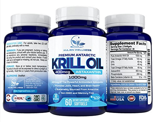 Krill Oil - Pure Antarctic Krill Oil with Astaxanthin, Omega 3, DHA & EPA | 1000mg per Serving | Multi-Step Oil Extraction Retains More Goodness | Unmatched Purity | Sustainable Harvested