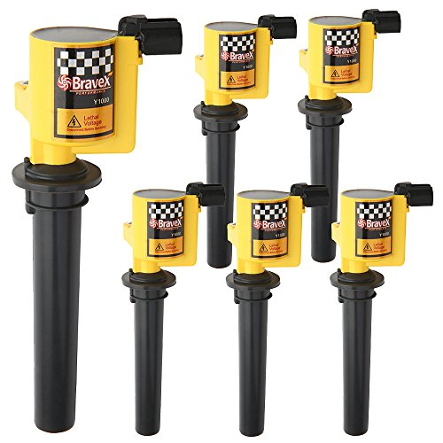 Bravex Set of 6 Ignition Coils for Ford Escape Freestyle Mercury Mariner Mazda V6 3.0L Compatible with C1458 FD502 DG500 DG513 (Yellow) ()