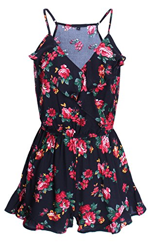 Ladies' Code Sleeveless Ruffled Floral Romper Black L Size