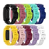 Bands Compatible with Fitbit Ace 2 for Kids 6+ Soft Colorful Silicone Bracelet Watch Bands for Ace 2 Fitness Tracker for Ace 2 Classic Accessory Band (10Pack)