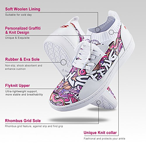 Soulsfeng Hardloopschoenen Voor Dames Heren, Flyknit Fashion Sneakers Heren Dames, Lichtgewicht Schuim Kussen Trail Breed Heren Schoenen Voor Jongens Meisjes Dames Jeugdprint Knit