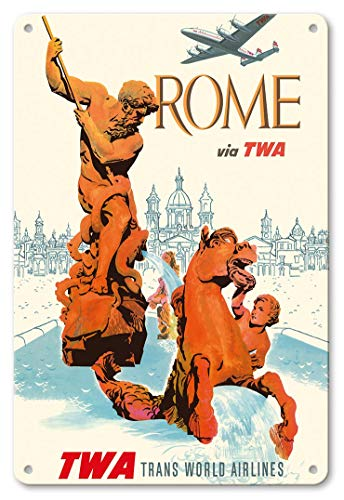 LHZJ Fashionable Rome Italy - via TWA (Trans World Airlines) - Fountain of Neptune by David KleinWall Sign 8X12 inches Metal tin Sign