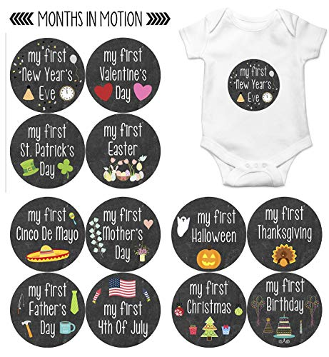 Months In Motion My First Holiday Baby Stickers Milestone Christmas, Birthday, Halloween, Easter, Thanksgiving Baby Sticker Chalkboard]()