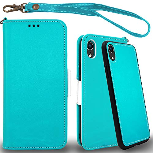 Mefon iPhone XR Detachable Leather Wallet Case, with Tempered Glass and Wrist Strap, Enhanced Magnetic Closure, Card Slot, Kickstand, Luxury Flip Folio Cases for Apple iPhone XR 6.1 (Turquoise) (Wallet For Women Turquoise)
