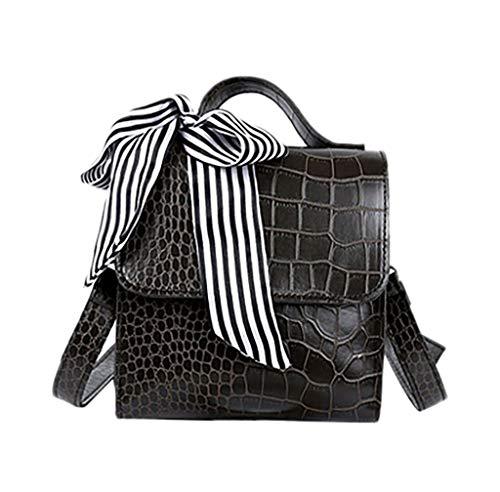 LiLi Meng Vintage Women New Crocodile Pattern Handbag Messenger Retro Scarf Shoulder Bag with Bow Tie