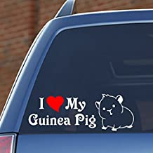 "I Love My Guinea Pig - 8.8"" wide x 3"" tall, vinyl decal - for windows, cars, trucks, tool boxes, laptops and tablets"