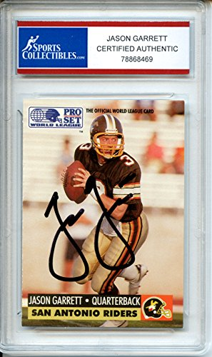 Jason Garrett Autographed San Antonio Riders Encapsulated Trading Card - Certified and Authentic