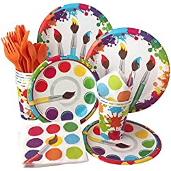 Art Painting Birthday Party Supply Pack! Bundle Includes Paper Plates, Napkins, Cups & Silverware for 8 Guests