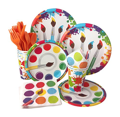 (Art Painting Birthday Party Supply Pack! Bundle Includes Paper Plates, Napkins, Cups & Silverware for 8)