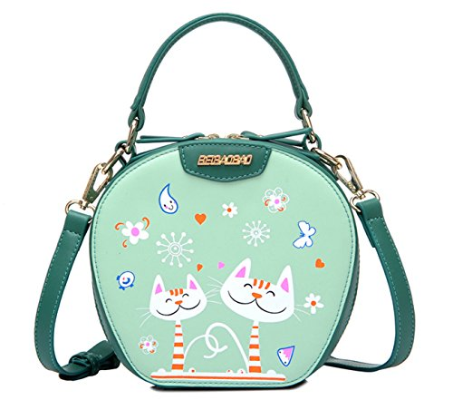 Longzibog Pu Fashion Simple Style Fashion Tote Top Handle Shoulder Cross Body Bag Satchel Green
