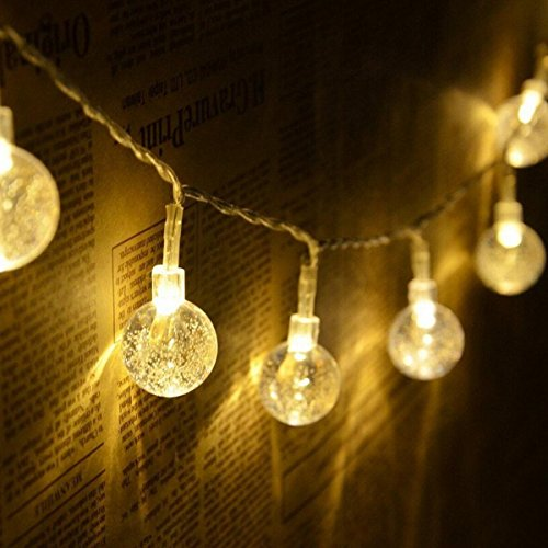 40 Led 16 Feet Bubble Crystal Ball Waterproof LED Globe String Lights Battery Operated Indoor Outdoor Decorative Fairy Lights Curtain for Patio, Gardens, Bedroom, Wedding, Party (Warm White) (Photo Crystal Brown)