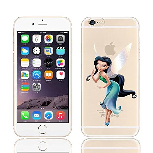 DISNEY TINKERBELL & FAIRY FRIENDS CLEAR TPU SOFT CASE FOR APPLE IPHONE 7 SILVER MIST