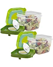Fit & Fresh Chilled Salad Shaker Container with Dressing Dispenser, Green, Set of 2