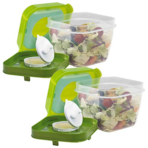 Fit & Fresh Salad Shaker Reusable Plastic Container with Dressing Dispenser and Removable Ice Pack, Healthy Lunch Box Set, 4-Cup Capacity, BPA-Free (Set of 2)