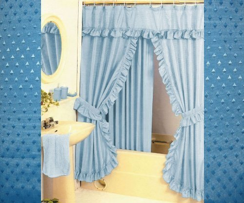 Lovely Amazon.com: Double Swag Shower Curtain With PVC Liner, Hooks And Tiebacks    Black: Home U0026 Kitchen To Double Swag Shower Curtain