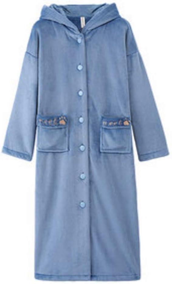 Albornoz Nan Liang Camisón Mujer otoño e Invierno de Dibujos Animados de algodón con Capucha Engrosamiento Larga sección Servicio a Domicilio camisón Cómodo (Tamaño : Metro)