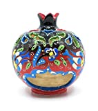 Handmade Traditional Turkish Pottery Pomegranate Shaped Candle or Incense Burner (Black to Red, Medium 5'')