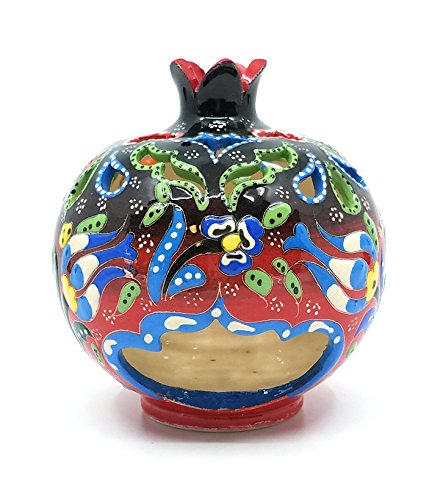 Handmade Traditional Turkish Pottery Pomegranate Shaped Candle or Incense Burner (Black to Red, Medium 5