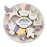 Mini Fantasy Unicorn Cookie Biscuit Fondant Cake Mold - Set of 16 - 8Pcs Cookie Cutter and 8Pcs Cookie Stencils, Include Unicorn Head, Unicorn, Bless photo frame, Magic Wand and Clouds