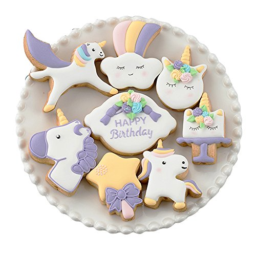 ADSWEET Mini Fantasy Unicorn Cookie Biscuit Fondant Cake Mold - Set of 16-8Pcs Cookie Cutter and 8Pcs Cookie Stencils, Include Unicorn Head, Unicorn, Bless photo frame, Magic Wand and Clouds