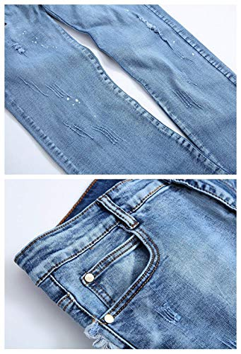 Ufig Da Dritta Comodo Battercake Pantaloni Gamba Slim Blau Lavati Strappati Fit Casual Jeans Uomo SvzqX5
