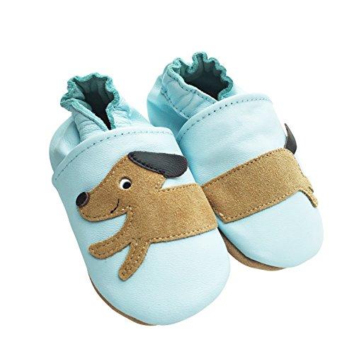 Engel+Piraten Krabbelschuhe Markenqualität Aus Deutschland- Viele Modelle bis 4 Jahre Babyschuhe Leder Lauflernschuhe Lederpuschen Hund Hellblau