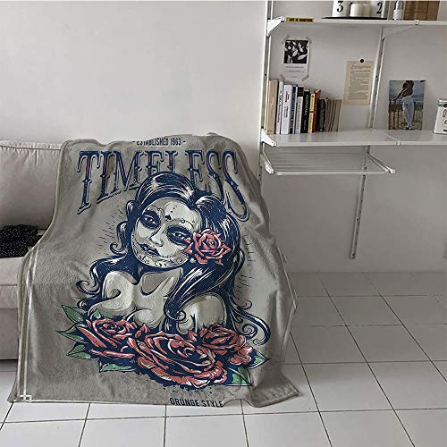 Children's blanket portable Warm All Season Blanket for (70 By 90 Inch,Skulls Decorations Collection,Day of Dead Girl with Tattoos on Her Face Roses Lady witch Woman Timeless Sign Art,Grey Black)]()