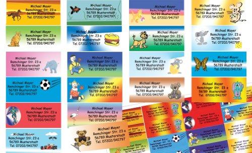 Kinder-Etiketten mit Ihrer kompletten Adresse, 80 Stück, ca. 56 x 23 mm, für bis zu 5 Zeilen Text, bunt-gemischt mit 20 versch. Motiven