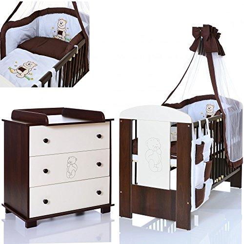 BÄR Braun Babyzimmer Möbel Komplettset mit Kinderbett 120x60 + Wickelkommode + 9 teiligen Bettwäsche Set weiss