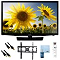 UN24H4000 - 24-inch 720p HD Slim LED TV CMR 120 Plus Bundle. Bundle Includes TV, Flat TV Mount, 3 Outlet Surge protector w/ 2 USB Ports, 2 -6 ft High Speed HDMI Cables, Performance TV/LCD Screen Cleaning Kit, and Cleaning Cloth.