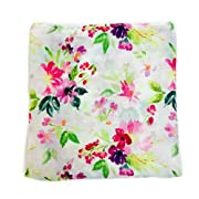 Little Luvies Digitally Printed Luxury Swaddle Blanket (Paint me Pretty) | Watercolor Floral Baby Swaddle Wrap and Receiving Blanket | Ultra Soft Bamboo Baby Swaddle Blanket | Best Baby Gift Girl