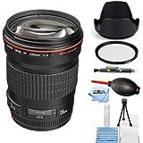 Canon EF 135mm f/2L USM Lens With Tulip Lens Hood, UV Filter, Starter Cleaning Kit + More #2520A004 (Starter Bundle) [International Version]