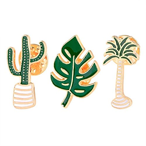 3 Piece/Set Lovely Alloy Coconut Tree Leaf Cactus Brooch Pin Fashion Jewelry