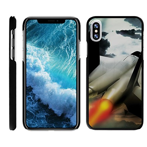 TurtleArmor | Compatible with Apple iPhone X Case | Apple iPhone 10 Case [Slim Duo] Ultra Slim Hard Matte Protector Clip On Cover on Black War and Military - Fighter Jet (Best Fighter Jet Game Iphone)