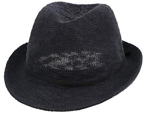 Simplicity Men Women Foldable Straw Fedora Hat Short Brim Beach Sun Hat, Black