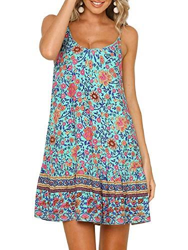 (SHIBEVER Women's Summer Sexy Floral Printed Dress Adjustable Spaghetti Strap Mini Beach Casual Ruffle Swing Boho Sundress Green S)