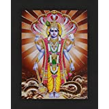 Avercart Lord Vishnu / Shree Vishnu / God Vishnu / Narayana Hari Poster 13x18 cm with Photo Frame (5x7 inch framed)