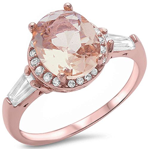 Rose Gold Plated Silver Oval Simulated Morganite Ring Sizes 5
