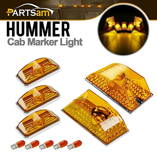 Partsam 5pcs Cab Marker Roof Running Top Lights 264160AM Front Amber Lens Crystal Chrome + T10 194 168 W5W 2825 Yellow Halogen Bulbs Replacement for 2003-2009 Hummer H2 SUV SUT ()