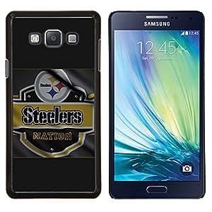Steeler Nation- Metal de aluminio y de plástico duro Caja del teléfono - Negro - Samsung Galaxy A7 / SM-A700