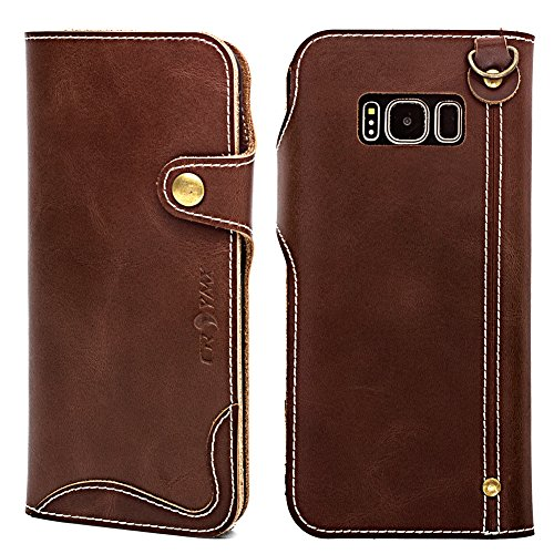 Galaxy S8 Plus Wallet Leather Case, Genuine Cowhide Handmade Protective Vintage Flip Folio Cover with Snap Magnetic Closure and Hand Strap for Samsung Galaxy S8 Plus - Dark Brown