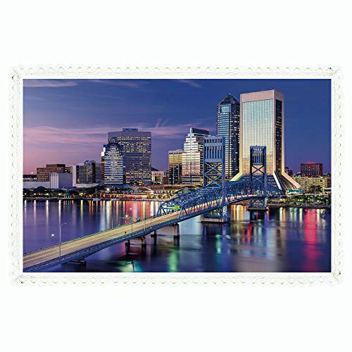 United States,Rectangle Polyester Linen Tablecloth/Urban Cityscape Bridge Office Buildings Jacksonville Florida/for Dinner Kitchen Home Décor,60